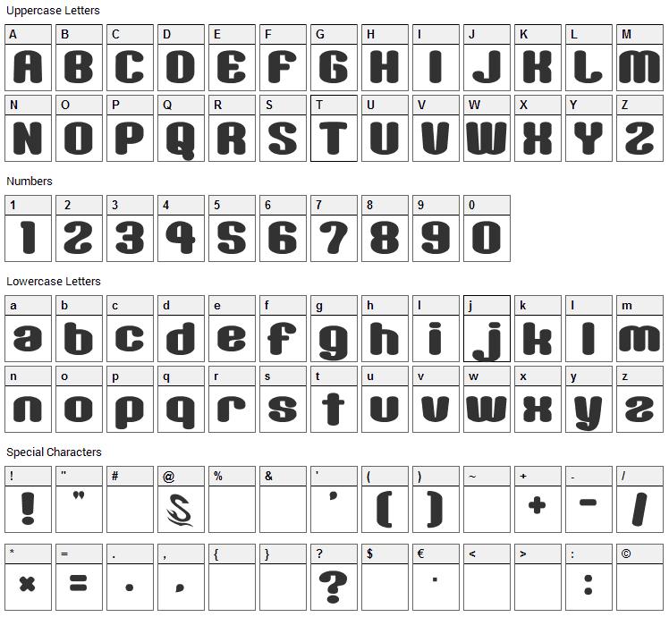 Sikakusimen Font Character Map