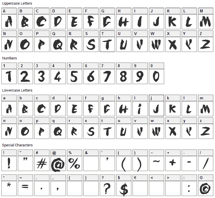 SilkRoad Font Character Map