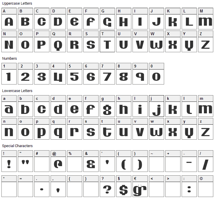 Silver Dollar Font Character Map