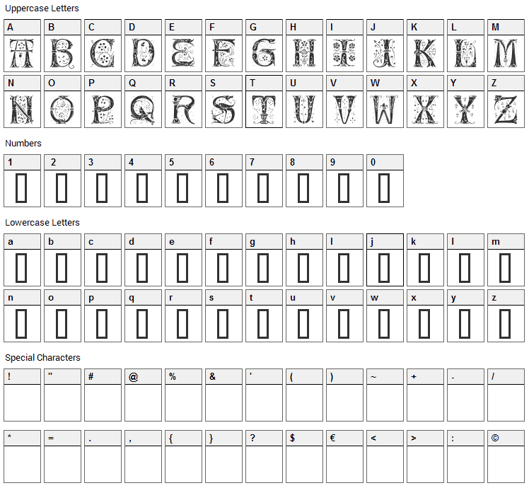 Silvus Font Character Map