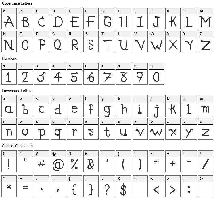 Simallos Font Character Map