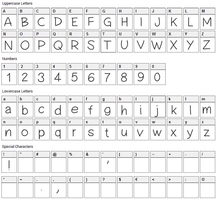 Simple Handwriting Font Character Map