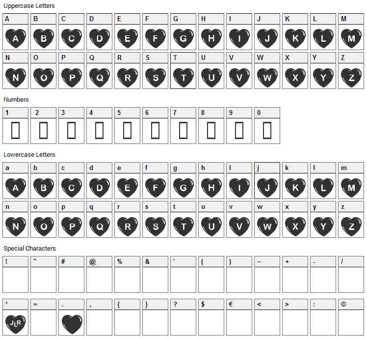 Simple Hearts Font Character Map