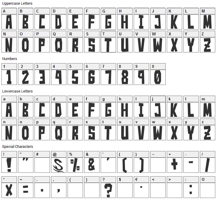 Simple Slum Font Character Map