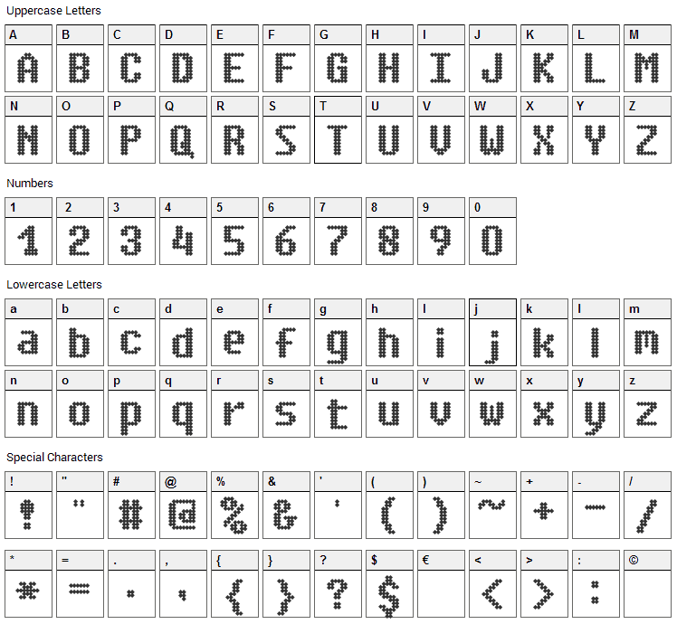 Simpleton Font Character Map