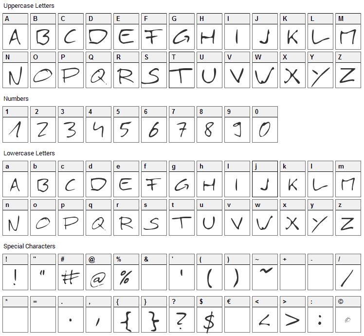 Simply 21 Font Character Map