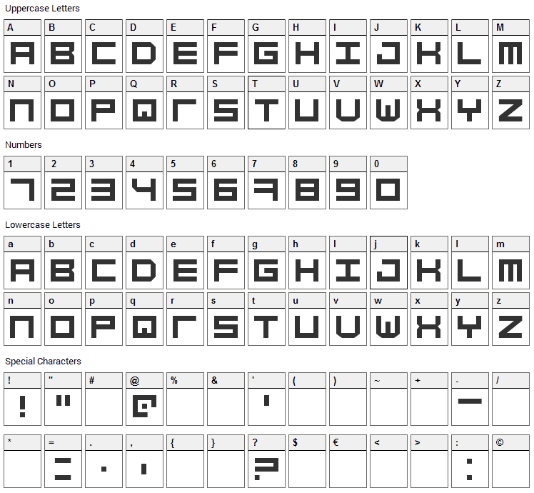 Simply Mono Font Character Map