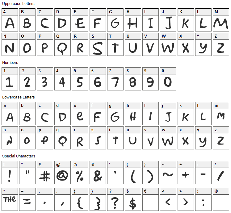 Simpson Font Character Map
