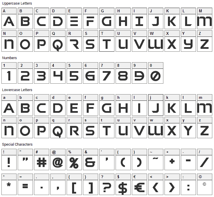 Singapore Sling Font Character Map