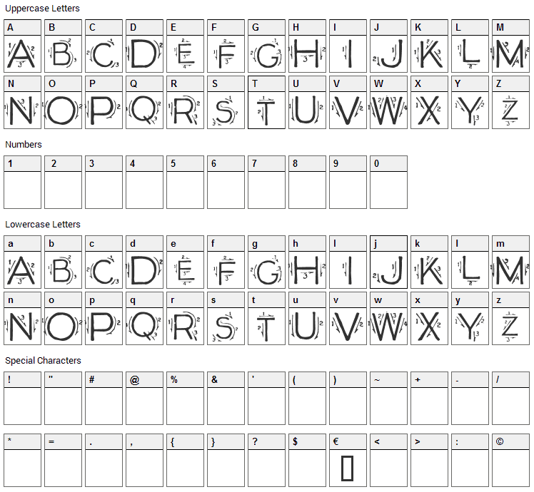 Single Stroke Font Character Map