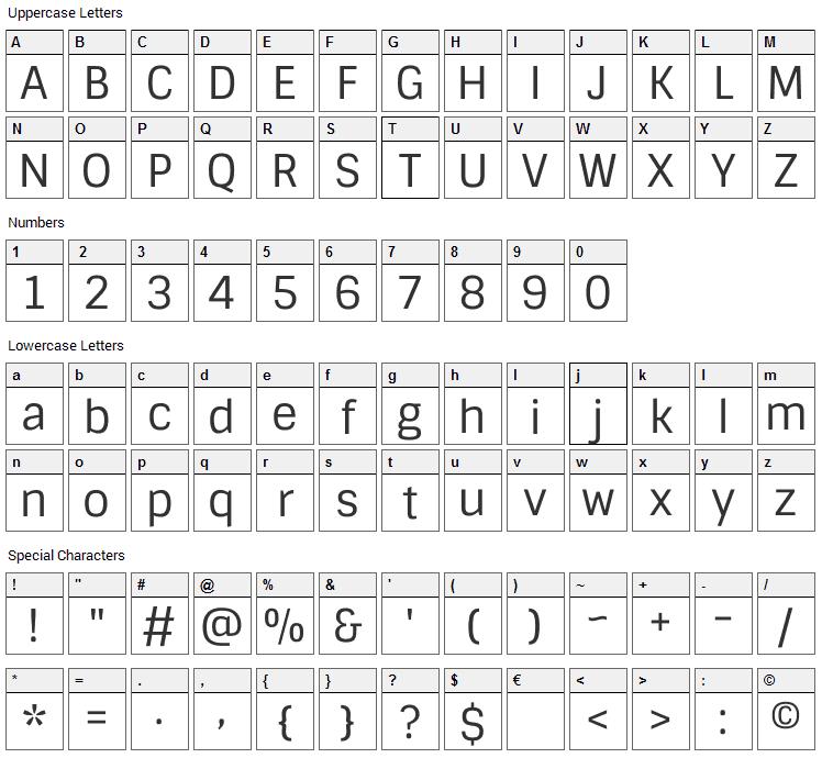 Sintony Font Character Map