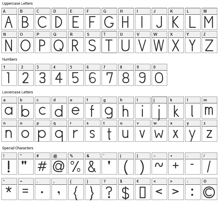 Siple Font Character Map