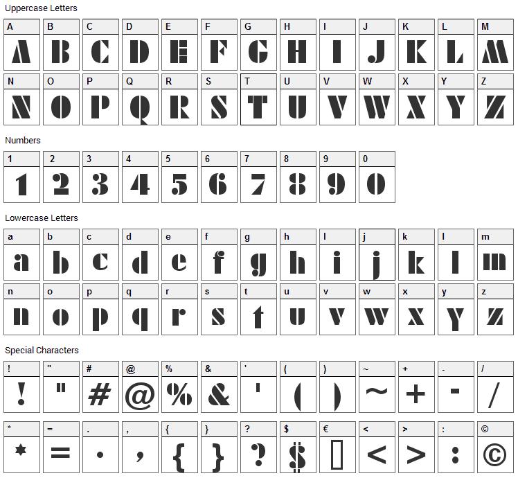 Sistemas Font Character Map