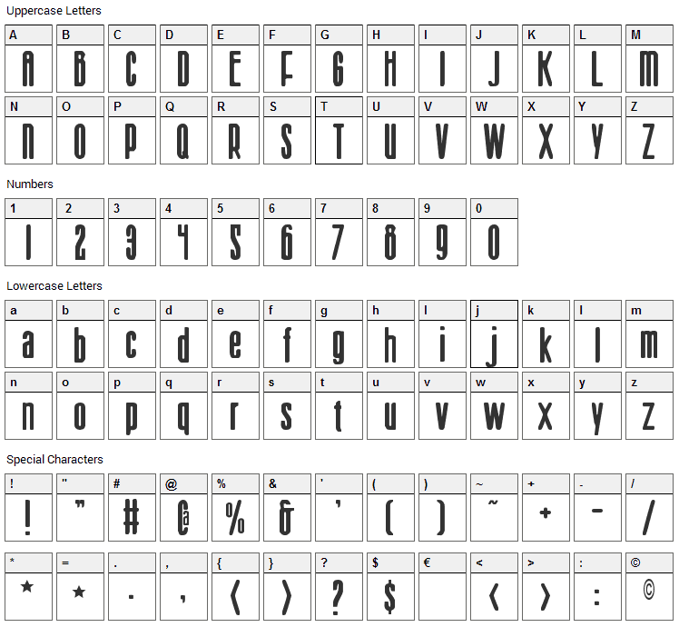 Sister Europe Font Character Map