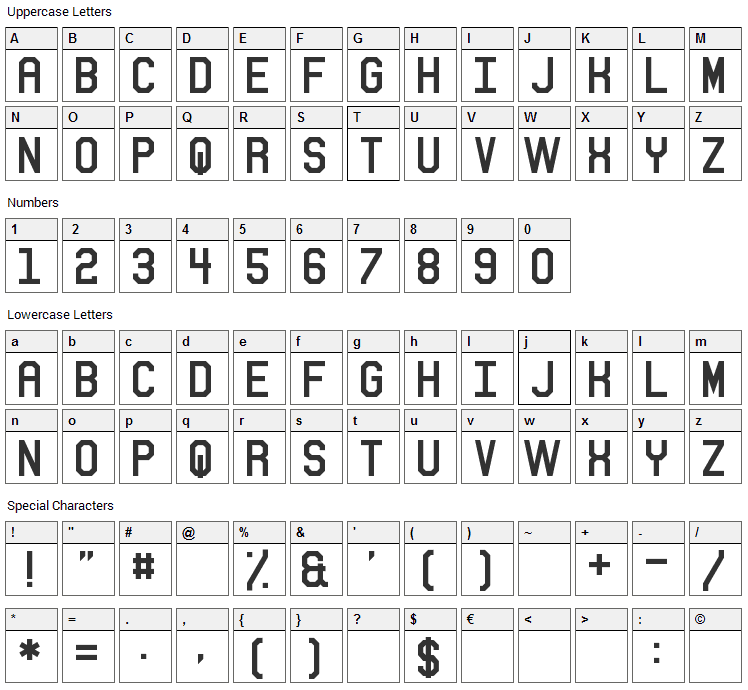 Sitdown Font Character Map