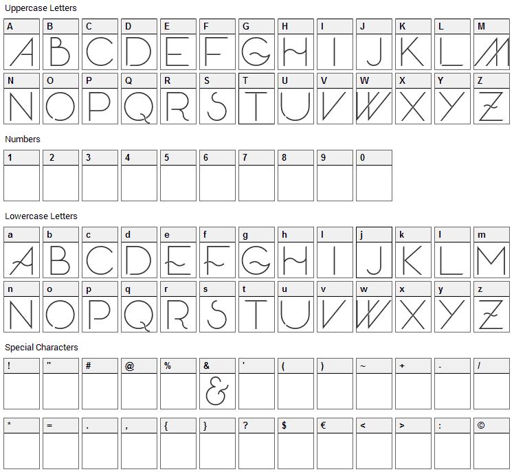 Skandar Font Character Map
