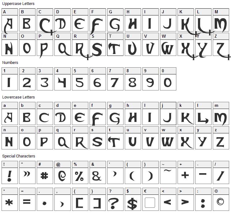 Skeksis Font Character Map