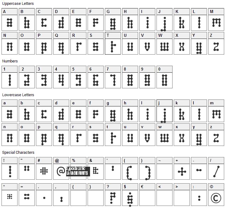 Skeletor Stance Font Character Map