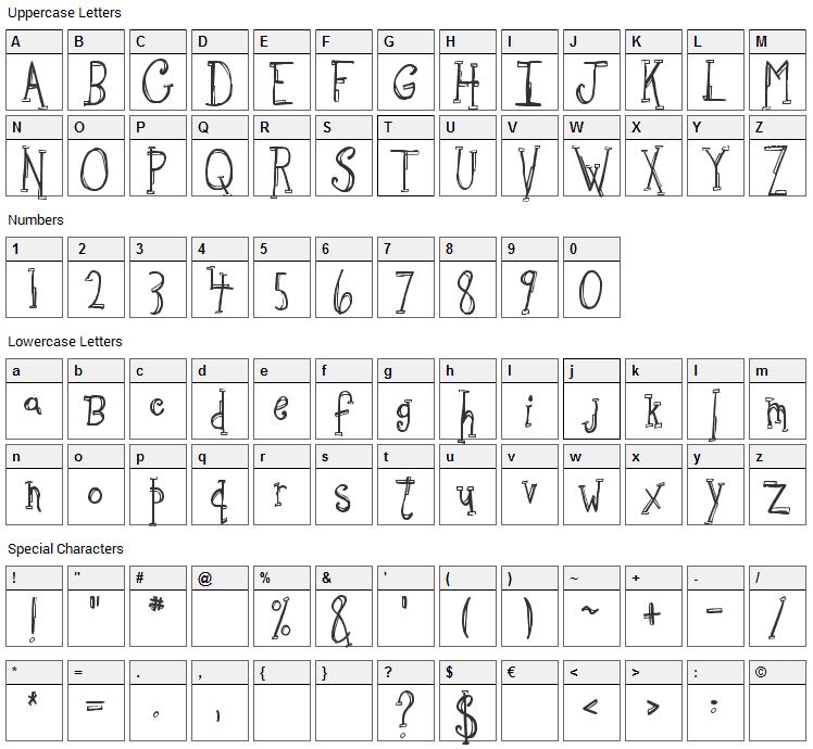 Sketchbook Font Character Map