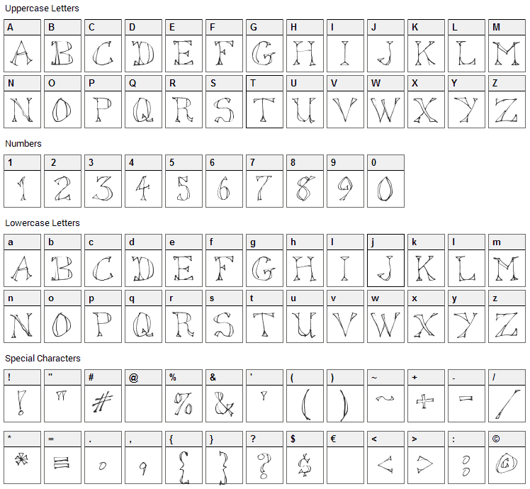 Sketched Out Font Character Map