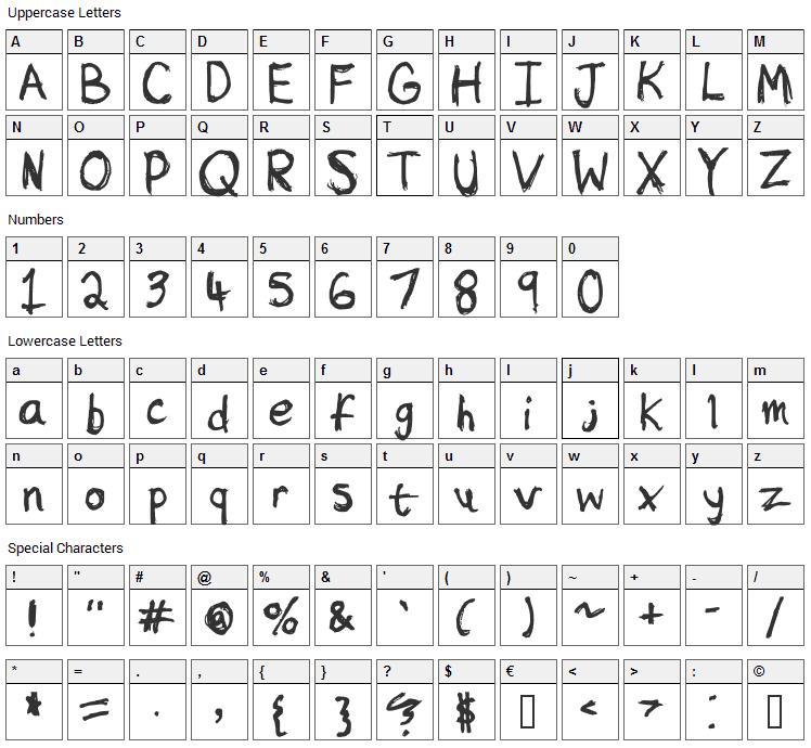 Sketchy Font Character Map