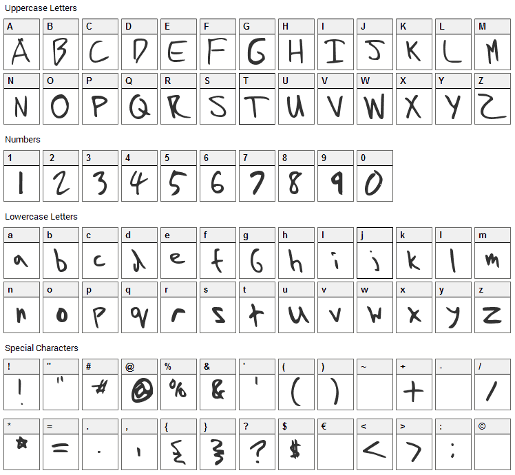 Skifyre Extra Normal Font Character Map