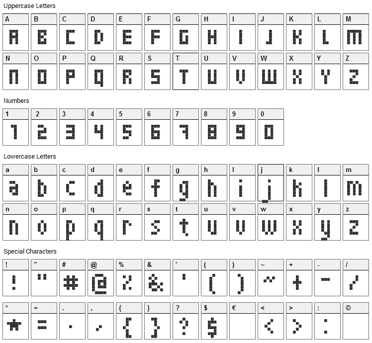 Skinny Font Character Map