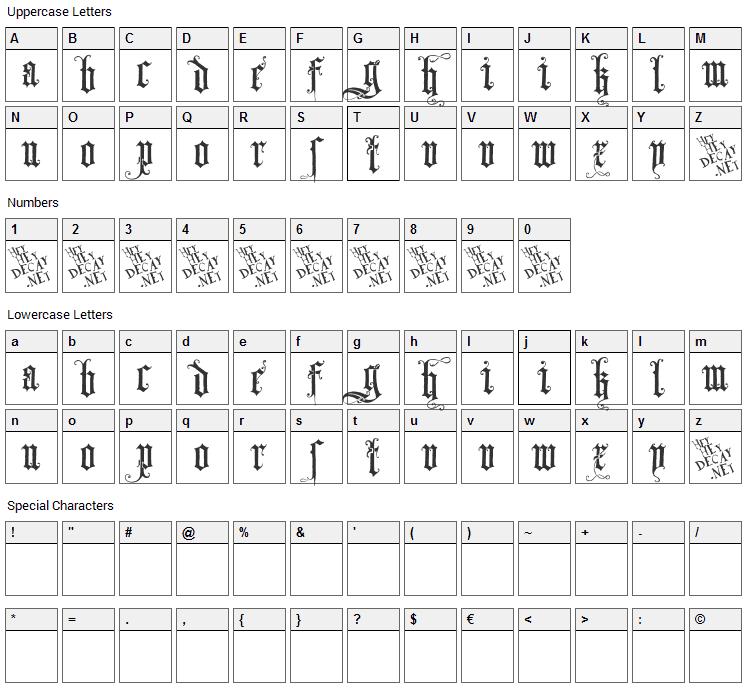 Skjend Hans Gotisk Font Character Map