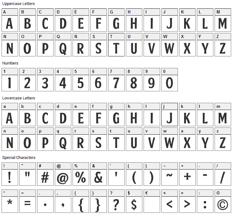 Skradjhuwn Font Character Map