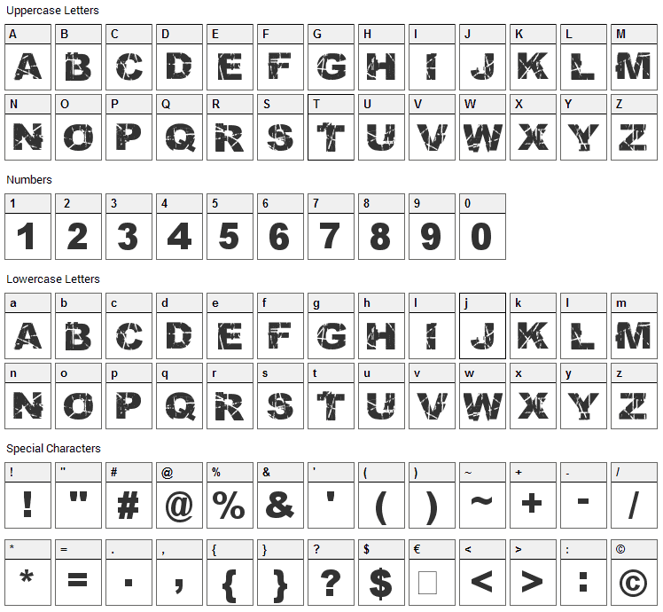 Skratch Punk Font Character Map