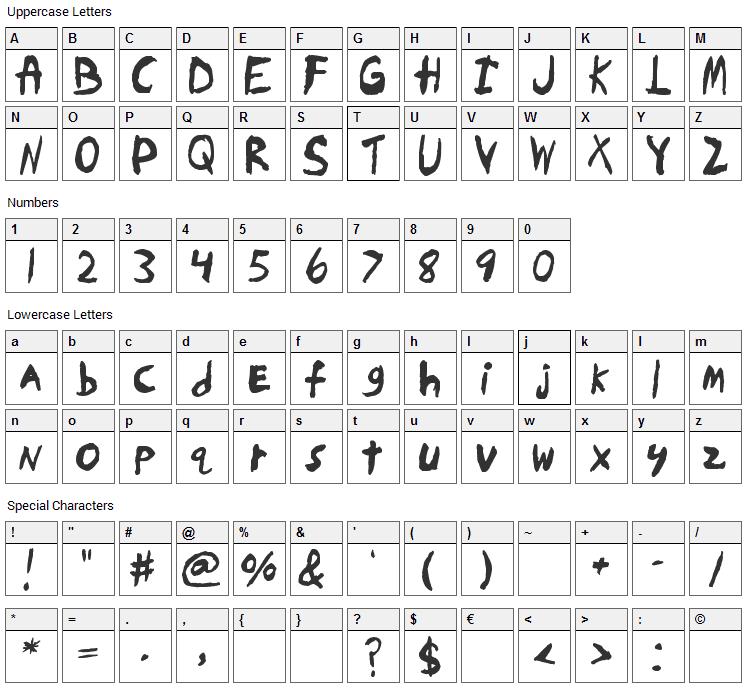 Skrawl Font Character Map