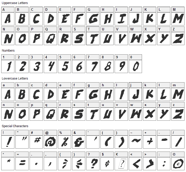 Skrunch Font Character Map