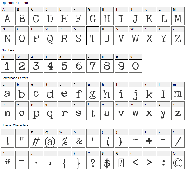 Skull Type Wr00 Font Character Map