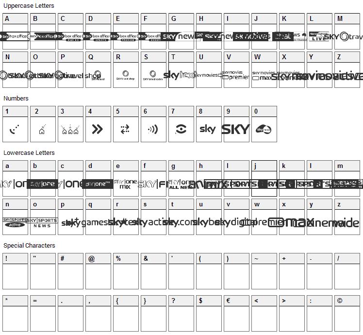 SKY logos Font Character Map