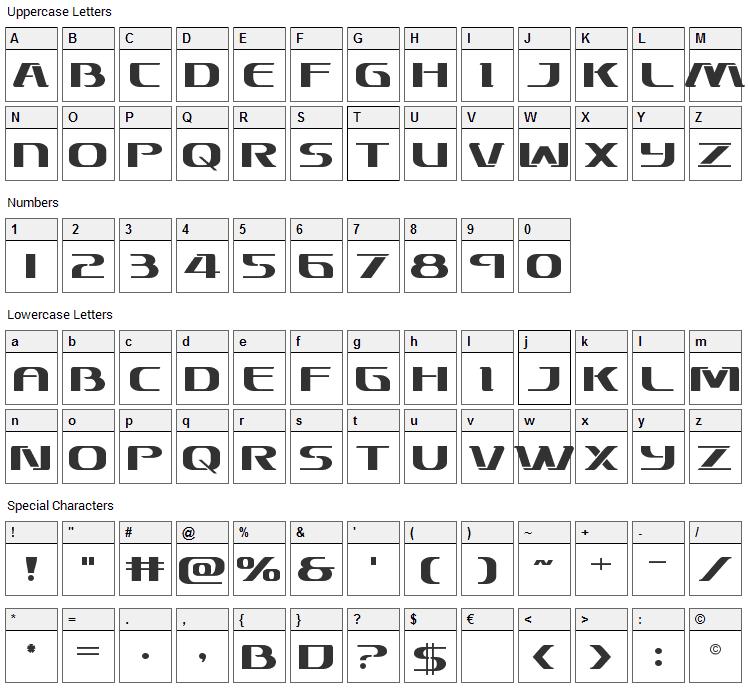 Sky Marshal Font Character Map
