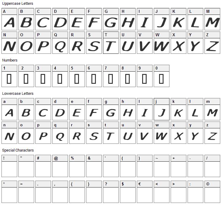 Sky Skunk Font Character Map