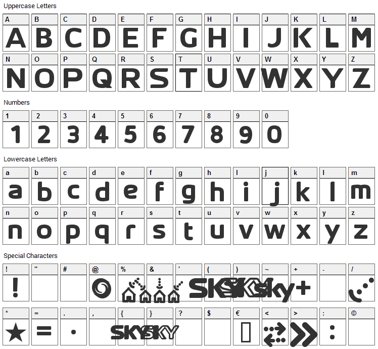 SKYfontThick Font Character Map