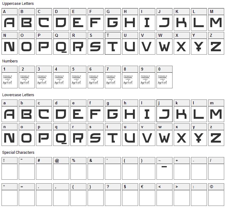 SL Panzerkardinal Font Character Map