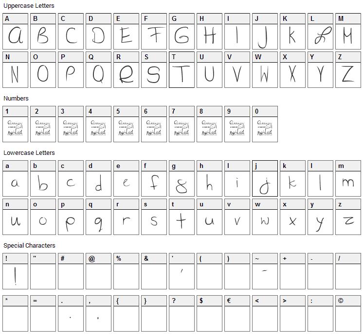 SL Runaway Girl Font Character Map