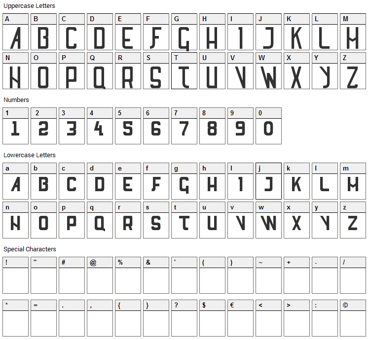 SL Thank You For The Venom Font Character Map
