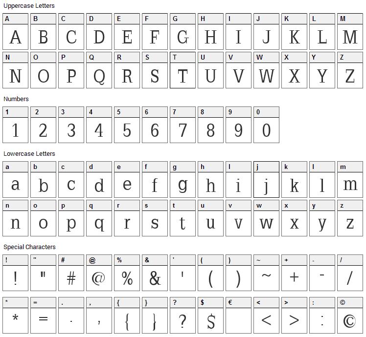 Slab Romana Font Character Map