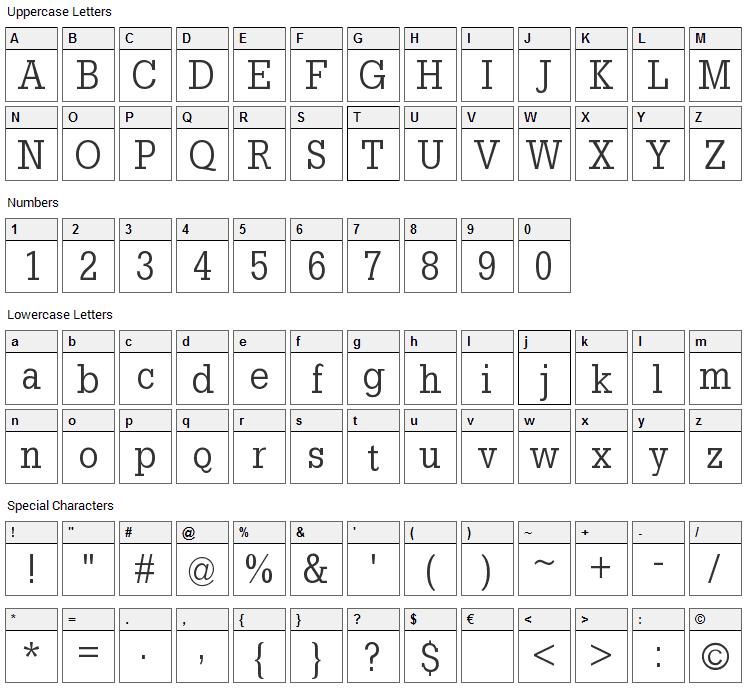 Slab Tall X Font Character Map