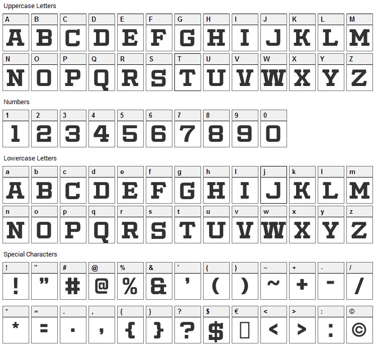 Slabby Prices Font Character Map