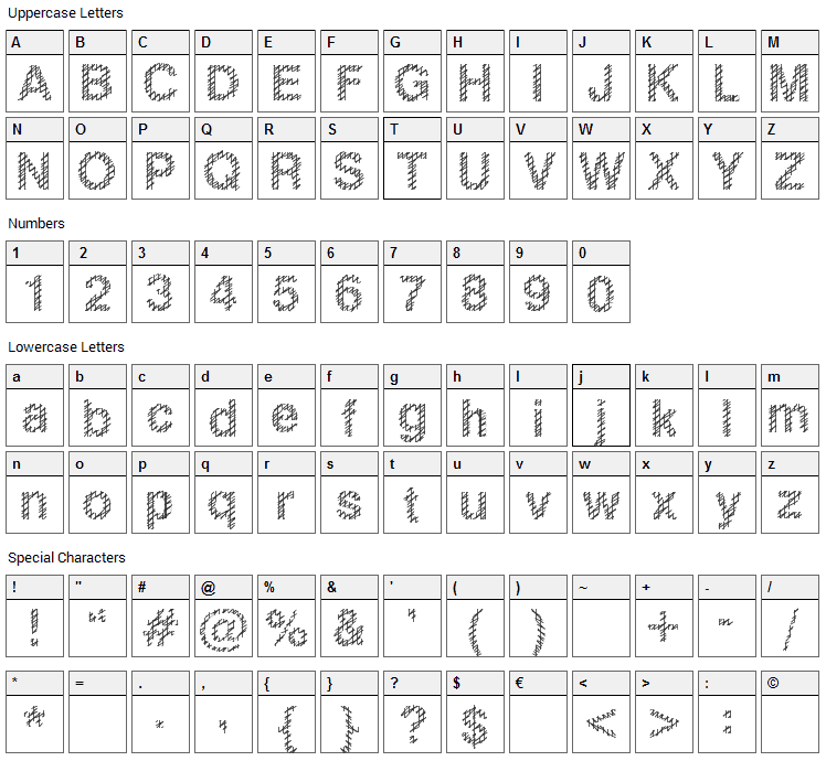 Slang King Font Character Map
