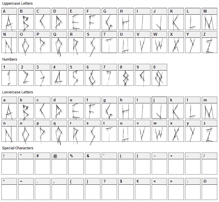 Slasha Font Character Map