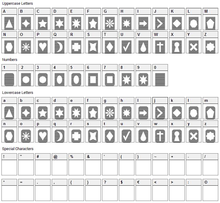 Slats n Things Font Character Map