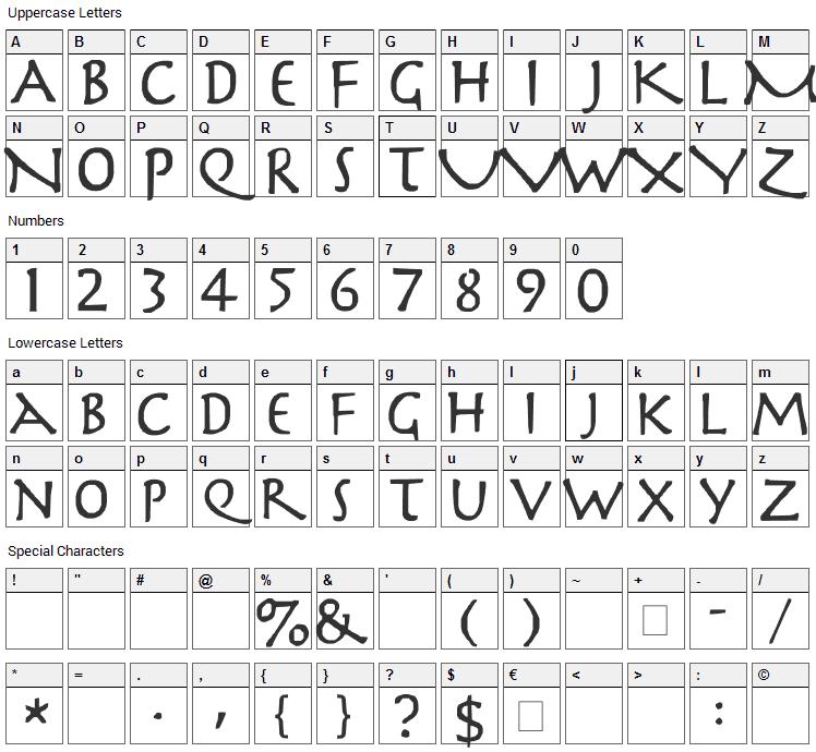 Slayer Font Character Map
