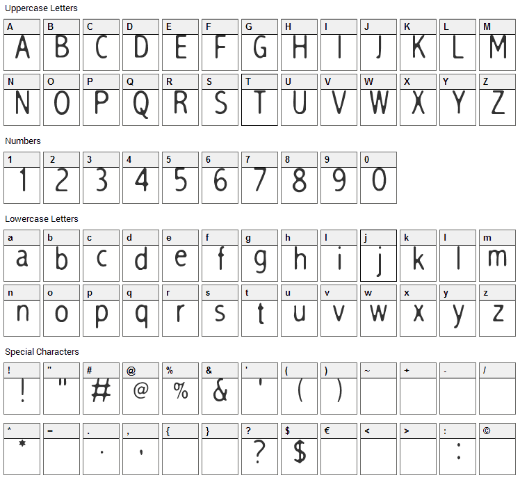 Sleep Talk Font Character Map