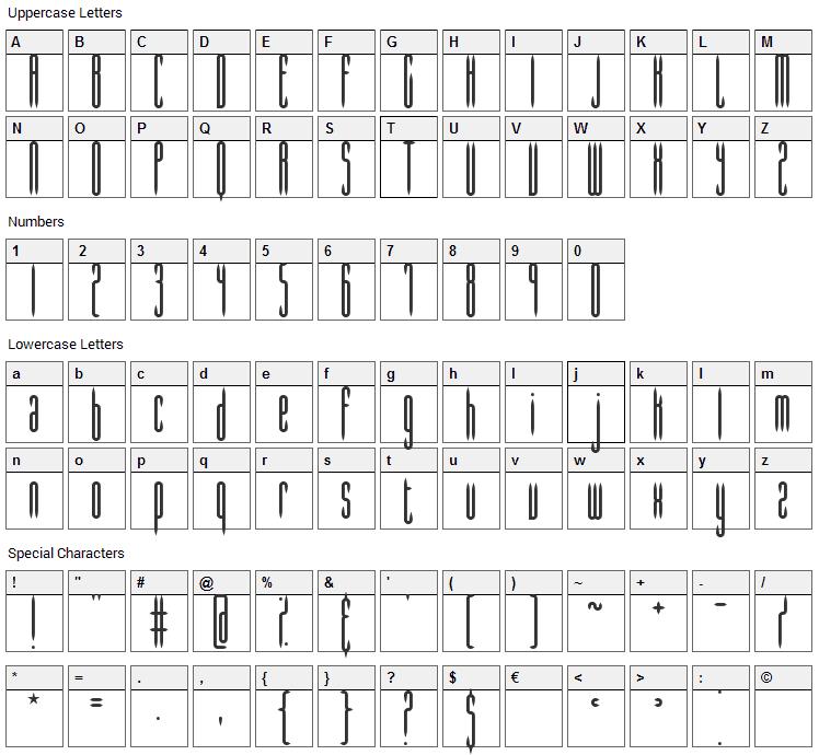 Slender Font Character Map