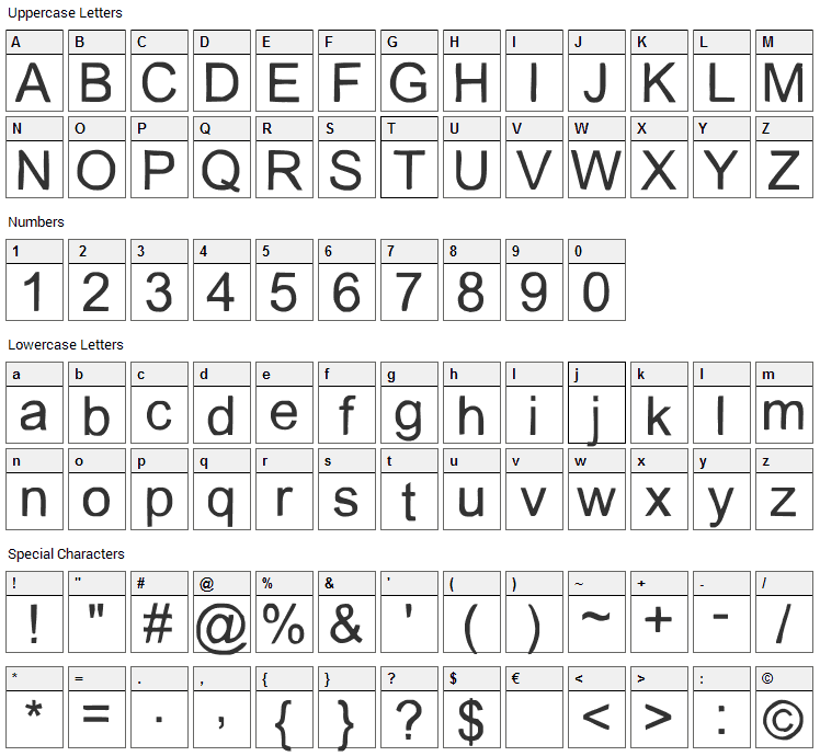 Slice Font Character Map